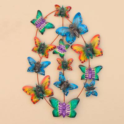 Metal Wall Art, 'Social Butterflies' - Steel Butterfly Wall Art Handmade in Bali