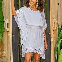Embroidered rayon caftan, 'Goddess in White' - Lacy Belted White Rayon Caftan from Bali