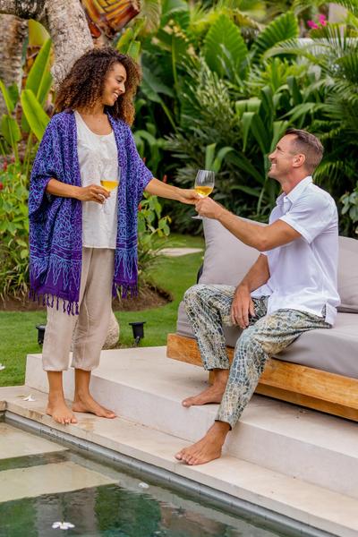 Rayon batik kimono, 'Waterways' - Rayon Batik Kimono Jacket in Blue Violet Print