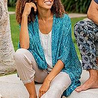 Rayon batik kimono, 'Sea Sponge' - Breezy Rayon Kimono with Batik Design