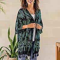 Rayon batik kimono, 'Raindrops' - Hand Stamped Black and Mint Rayon Batik Kimono
