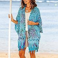 Rayon batik kimono, 'Bubbles' - Blue Batik Rayon Kimono Topper for Women