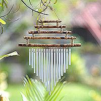 Bamboo and aluminum wind chime, 'Five Steps'