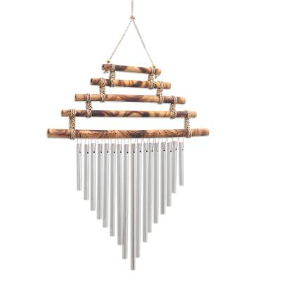Bamboo and aluminum wind chime, 'Five Steps' - Artisan Crafted Bamboo and Aluminum Wind Chime
