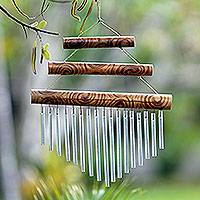 Bamboo and aluminum wind chime, 'Three Steps'