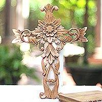 Wood wall accent, 'Florid Cross' - Hand Carved Wood Wall Cross with Floral Motifs