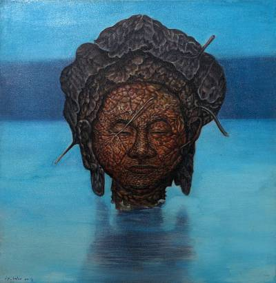 'Back to Water' (2018) - Surrealist Painting of a Leafy Face Above Water (2018)