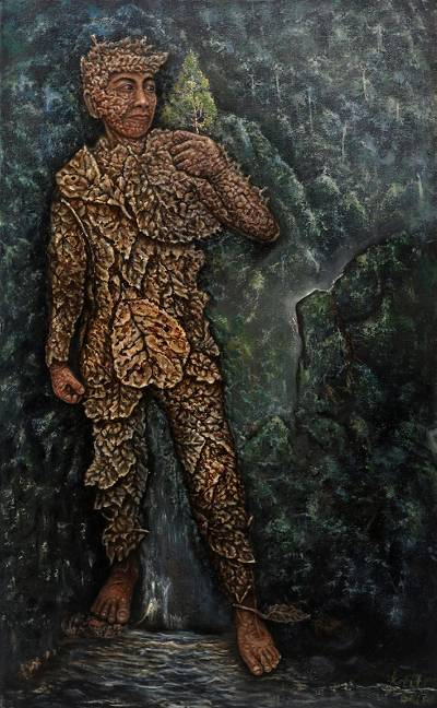 'Back to Nature I' (2019) - Surrealist Painting of a Person Made of Leaves (2019)