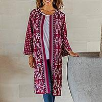 Ikat cotton jacket, 'Kartini Burgundy' - Long Handwoven Burgundy & Blue Ikat Cotton Duster Jacket