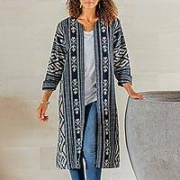 Ikat cotton duster, 'Kartini in Black' - Long Hand Woven Ikat Cotton Duster Jacket