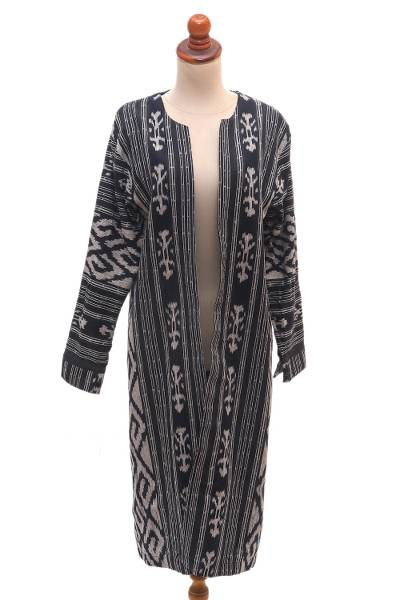 Ikat cotton jacket, 'Kartini in Black' - Long Hand Woven Ikat Cotton Duster Jacket