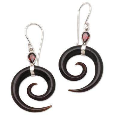 Garnet and horn dangle earrings, 'Shadow Swirls' - Swirl-Shaped Garnet and Dark Horn Dangle Earrings from Bali