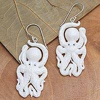 Bone dangle earrings, 'Friendly Octopus' - Hand-Carved Bone Octopus Dangle Earrings from Bali