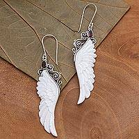 Garnet and bone dangle earrings, 'Caressed Wings' - Garnet and Bone Wing Dangle Earrings from Bali