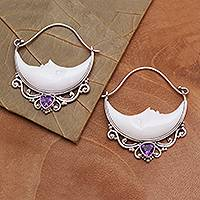 Amethyst and bone hoop earrings, 'Sleeping Moons' - Amethyst and Bone Crescent Moon Hoop Earrings from Bali