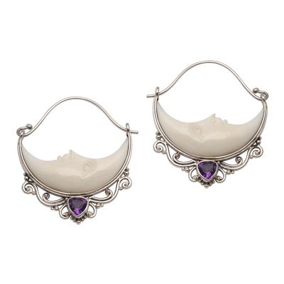 Amethyst and bone hoop earrings, 'Sleeping Moons' - Amethyst and Bone Crescent Moon Hoop Earrings from Bali