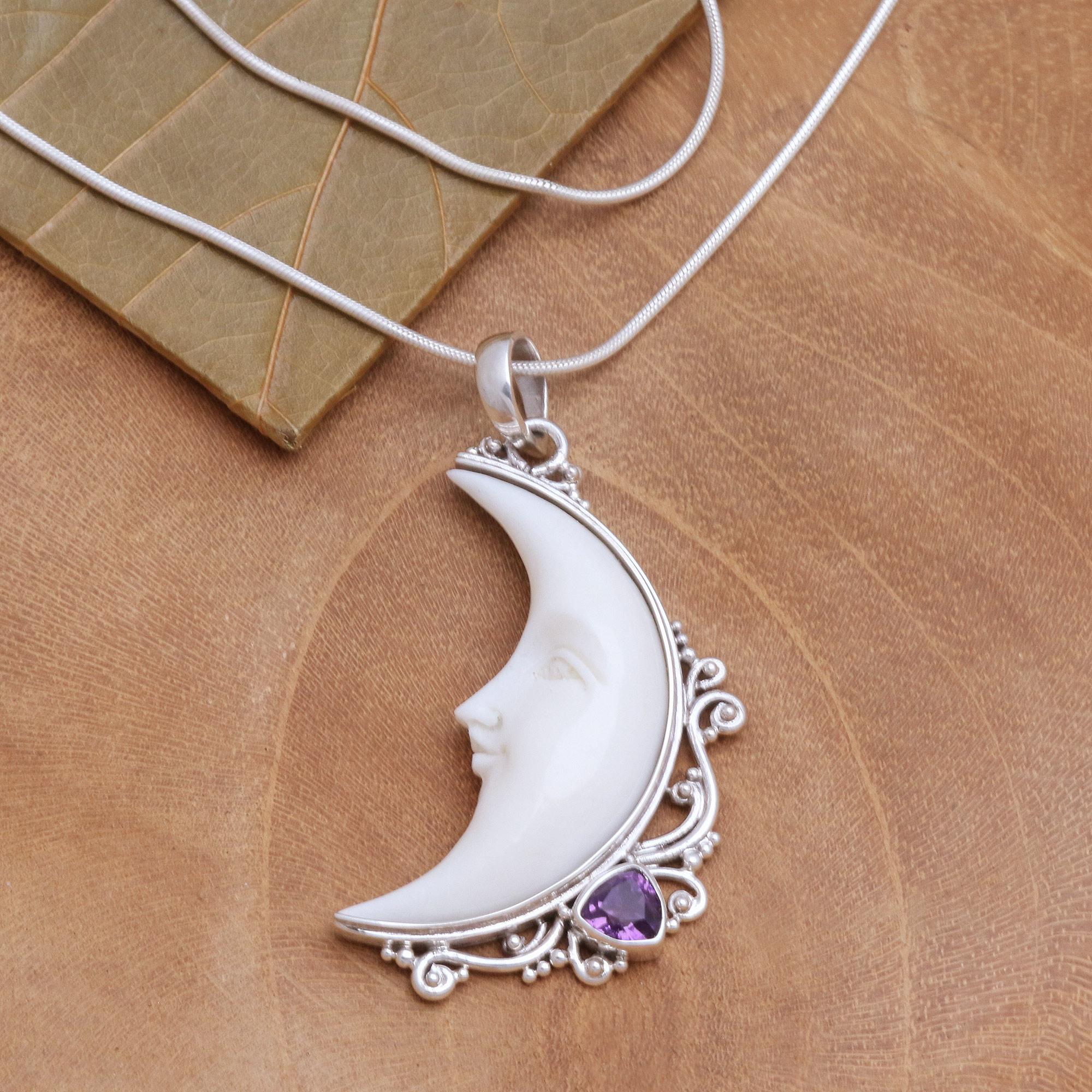 Crescent Moon Amethyst Pendant