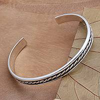 Sterling silver cuff bracelet, 'Measure by Measure' - Sleek Hand Crafted Sterling Silver Cuff Bracelet