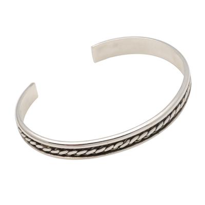 Sterling silver cuff bracelet, 'Measure by Measure' - Sleek Hand Crafted Sterling Silver Cuff Bracelet