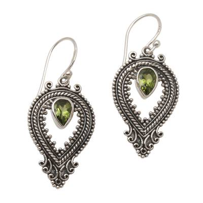Peridot and Silver Dangle Earrings