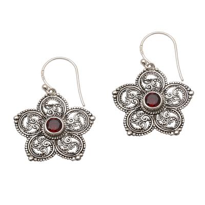 Sterling Silver and Garnet Flower Earrings