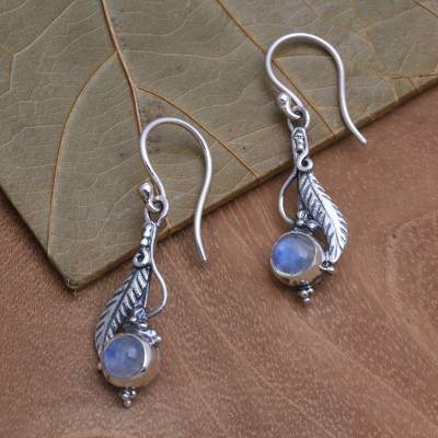 Rainbow moonstone dangle earrings, 'Leaf Glow' - Leaf Motif Rainbow Moonstone Dangle Earrings