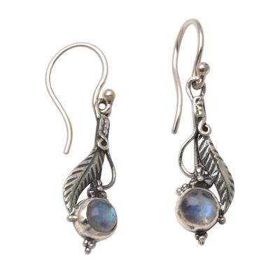 Leaf Motif Rainbow Moonstone Dangle Earrings
