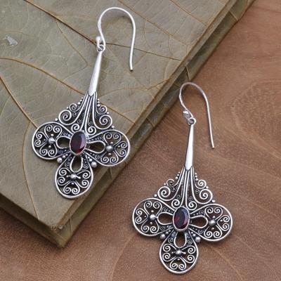 5 Stone Bali Sterling and Garnet Dangle Earrings