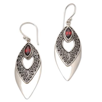 Balinese Style Garnet Dangle Earrings