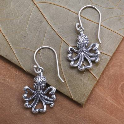 Sterling silver dangle earrings, 'Octopus Alive' - Sterling Silver Octopus Motif Earrings