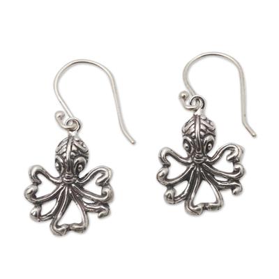 Sterling silver dangle earrings, 'Octopus Alive' - Sterling Silver Octopus Motif Earrings
