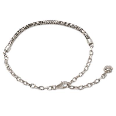 Sterling silver chain bracelet, 'Trailing Flower' - Women's Chain Bracelet with Flower Charm