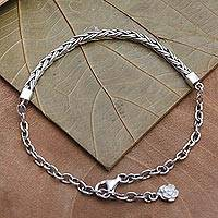 Sterling silver chain bracelet, 'Reluctant Flower' - Mixed Chain Charm Bracelet for Women