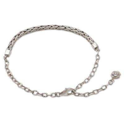 Sterling silver chain bracelet, 'Reluctant Flower' - Mixed Chain Charm Bracelet for Women