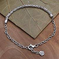 Sterling silver chain bracelet, 'Modest Flower' - Flower Charm Bracelet Crafted in Sterling SIlver