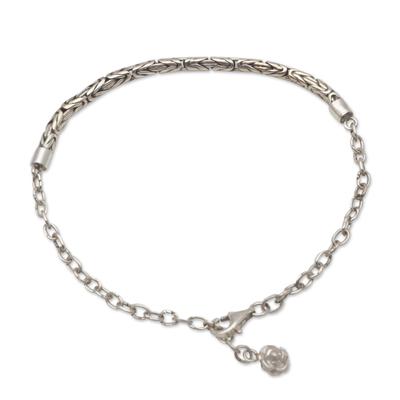 Sterling silver chain bracelet, 'Modest Flower' - Flower Charm Bracelet Crafted in Sterling SIlver