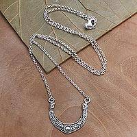 Sterling silver pendant necklace, 'Bali Crescent'
