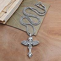 Sterling silver pendant necklace, 'Crowned Cross'
