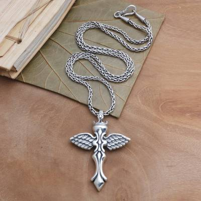 Sterling silver pendant necklace, 'Crowned Cross' - Silver Cross Pendant Necklace with Outspread WIngs