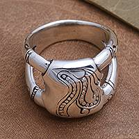 Sterling silver ring, 'Bamboo Glade' - Unisex Sterling Silver Ring with Bamboo Motif