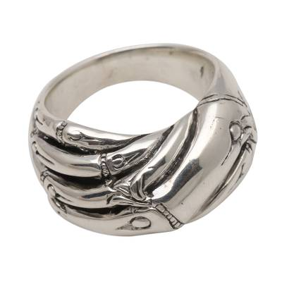 Sterling silver band ring. 'Bamboo Unity' - Bamboo Motif Unisex Sterling Silver Band RIng