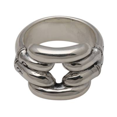 Sterling silver band ring, 'Bamboo Hollow' - Bamboo Motif Sterling Silver Ring for Men and Women