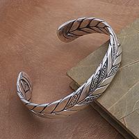 Sterling silver cuff bracelet, 'Fast Forward' - Sterling Silver Cuff Bracelet from Bali