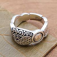 Sterling silver band ring, 'Going Together' - Textured Sterling Silver Band RIng