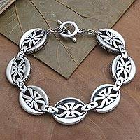 Sterling silver link bracelet, 'Rule Brittania' - Sterling Silver Link Bracelet from Bali