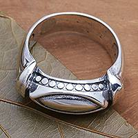 Sterling silver ring, 'Worldly Eye' - Unisex Sterling Silver Ring Handmade in Bali