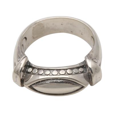 Sterling silver ring, 'Worldly Eye' - Unisex Sterling Silver Ring Handmade in Bali