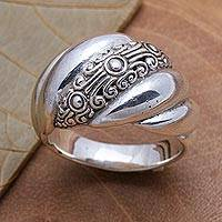 Sterling silver band ring, 'Boundless Inspiration'