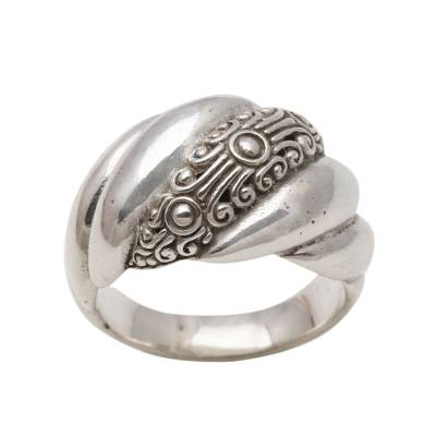 Sterling silver band ring, 'Boundless Inspiration' - Modern Sterling Silver Band Ring from Bali