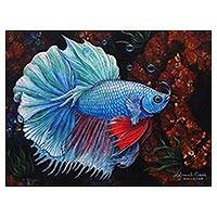 'Blue Betta' - Original Signed Balinese Blue Betta Fish Painting